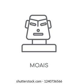Moais linear icon. Modern outline Moais logo concept on white background from Architecture and Travel collection. Suitable for use on web apps, mobile apps and print media.