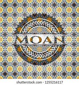 Moan arabic badge background. Arabesque decoration.