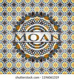 Moan arabic emblem background. Arabesque decoration.
