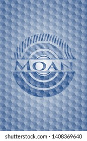 Moan blue badge with geometric pattern. Vector Illustration. Detailed.