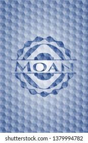 Moan blue hexagon badge.