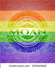Moan emblem on mosaic background with the colors of the LGBT flag