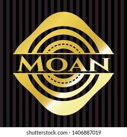 Moan gold shiny emblem. Vector Illustration. Detailed.