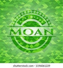 Moan green emblem with mosaic background