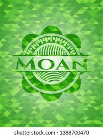 Moan green emblem. Mosaic background. Vector Illustration. Detailed.