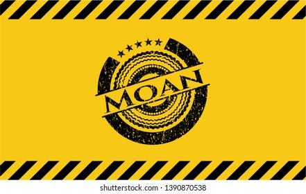 Moan grunge black emblem with yellow background, warning sign. Vector Illustration. Detailed.