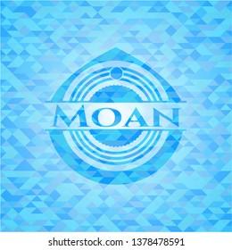 Moan light blue emblem. Mosaic background
