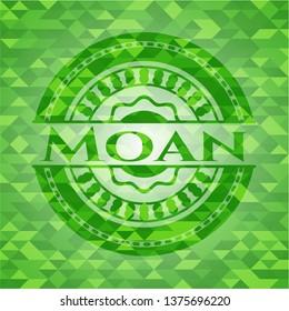 Moan realistic green emblem. Mosaic background