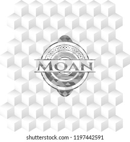 Moan realistic grey emblem with cube white background