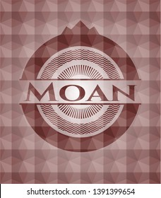 Moan red emblem with geometric pattern background. Seamless.