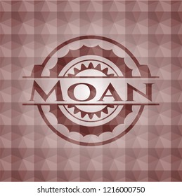 Moan red seamless badge with geometric background.
