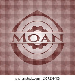 Moan red seamless emblem with geometric pattern.
