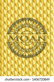 Moan shiny golden emblem. Scales pattern. Vector Illustration. Detailed.