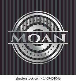 Moan silver shiny badge. Vector Illustration. Mosaic.