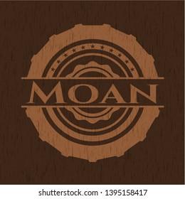 Moan wooden emblem. Retro. Vector Illustration.