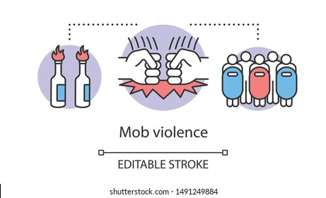 Mob violence concept icon. Civil unrest, vandalism, rebelion control idea thin line illustration. Molotov cocktails, fists and riot police with shields vector isolated outline drawing. Editable stroke