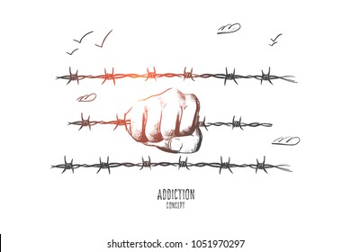 Mobbing concept. Hand drawn hand holds a barbed wire. Concept of hopelessness and addiction isolated vector illustration.