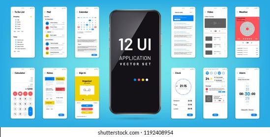 Mobil app interface. Ui, ux screen wireframe templates. Touchscreen application vector design. Illustration of ui application touchscreen, mock-up and gui, widget smartphone
