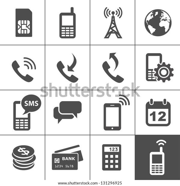 Mobile account management icons. Simplus series. Vector illustration