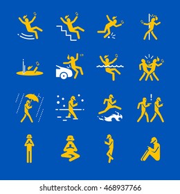 Mobile addict hazards and caution icons. Included the icons as walking, falling, accident, crash, stumble, focus and more.