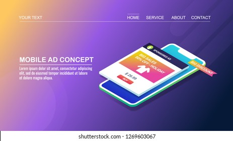 Mobile advertising concept, mobile displaying ads, smart digital marketing flat design 3D isometric banner