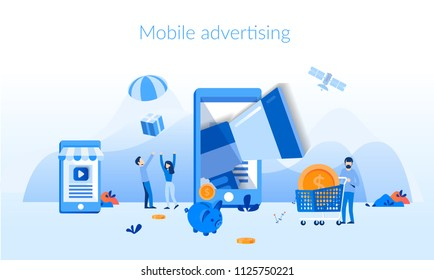 Mobile advertising Concept for web page, banner, presentation, social media, documents, cards, posters. Vector illustration business digital marketing, social network, megaphone , mobile phone