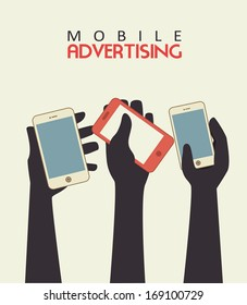 mobile advertising over beige background vector illustration