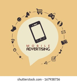 mobile advertising over pink background vector illustration