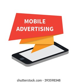Mobile advertising. Phone ads. Flat vector illustration