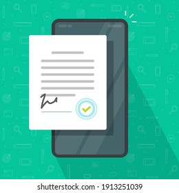 Mobile agreement or signed contract on smart cell phone screen with seal stamp vector flat cartoon illustration, concept of smartphone cellphone digital partnership success form, deal document