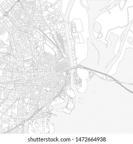 Mobile, Alabama, USA, bright outlined vector map with bigger and minor roads and steets created for infographic backgrounds.
