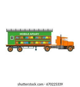 Mobile apiary. Vector illustrations