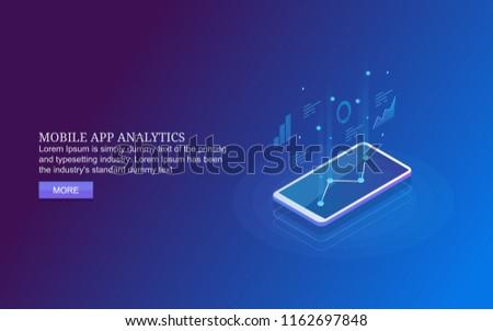 Mobile App Analytics Mobile Data Analysis Stock Vector (Royalty Free
