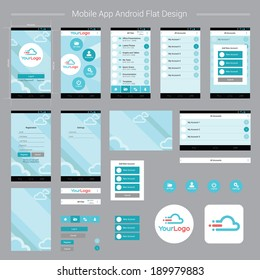 Mobile App Android Flat Interface. Easy-edit layered vector EPS10 file.