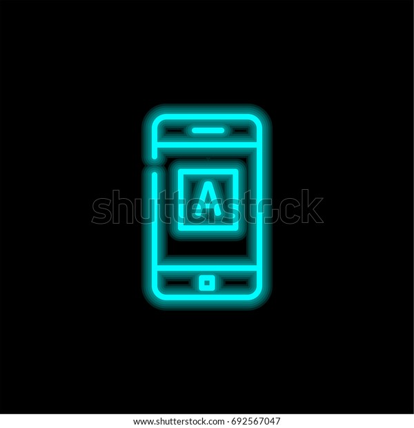 Mobile app blue glowing neon ui ux icon. Glowing sign logo vector