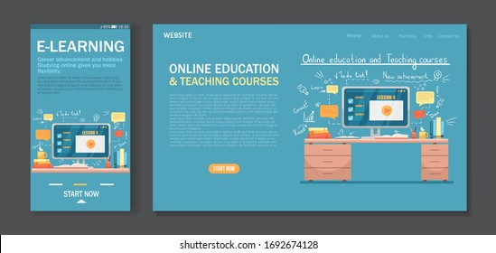 Mobile App design and Landing page design template for Online Education, courses, E-learning, Video Tutorials and Online testing. Easy to edit and customize. Modern Vector illustration concepts