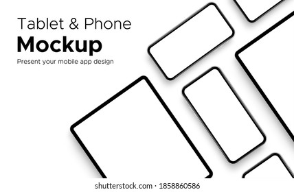 Mobile App Design Tablet Computer and Smartphone Mockup With Space for Text Isolated on White Background. Vector Illustration