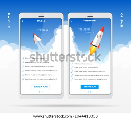 Mobile App Design Template Price List Stock Vector Royalty Free