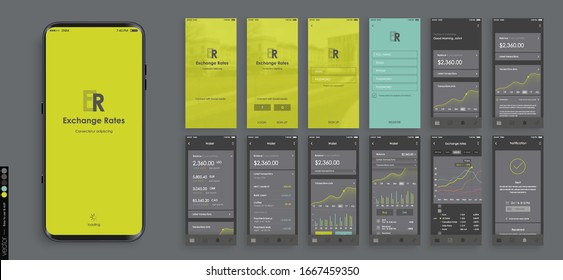 Mobile app design, UI, UX. A set of graphic screens with the login and password, home page, exchange rate, list of payments, archim exchange rates and current account information.