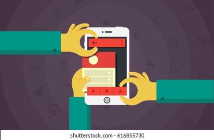 Mobile app development concept, mobile application building process vector illustration