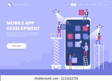 Mobile app development concept banner with characters. Can use for web banner, infographics, hero images. Flat vector illustration