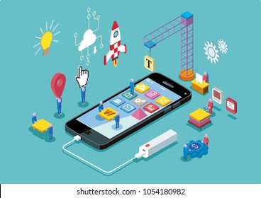 Mobile App Development and design process concept. Vector illustration.