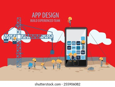 Mobile App Development, Experienced Team - Vector Illustration, Graphic Design, Editable For Your Design