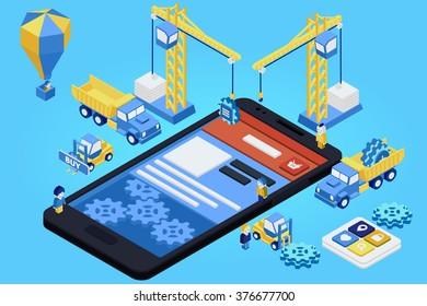 Mobile App Development, Experienced Team. Flat 3d isometric. Vector illustration
