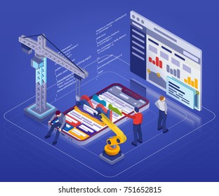 Mobile App Development, Experienced Team. 3d isometric modern phone. Manipulator robot, construction crane. Web development, UI design and analysis concept. Flat design with reflections and shadows.