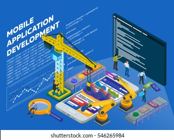 Mobile App Development. Flat 3d isometric mobile U? web design concept. Isometric infographic concept. Program code on a screen. People at work in different poses. Vector illustration