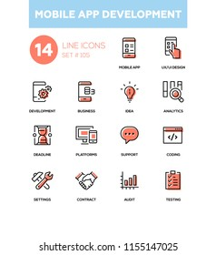 Mobile app development - modern line design icons set. Mobile app, UX and UI design, development, business, idea, analytics, deadline, platforms, support, coding, settings, contract, audit, testing