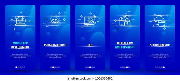 Mobile app development , Program coding, Seo, Digital law and copyright, Secure backup Vertical Cards with strong metaphors. Template for website design.