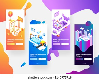 Mobile App Development splash screen mockups on abstract background can be used for website and mobile application.
