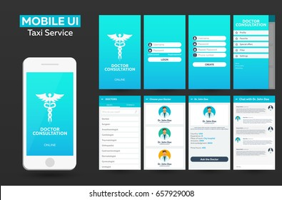 Mobile app Doctor consultation online Material Design UI, UX, GUI. Responsive website